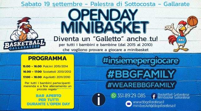 MINIBASKET: Open Day 19 settembre